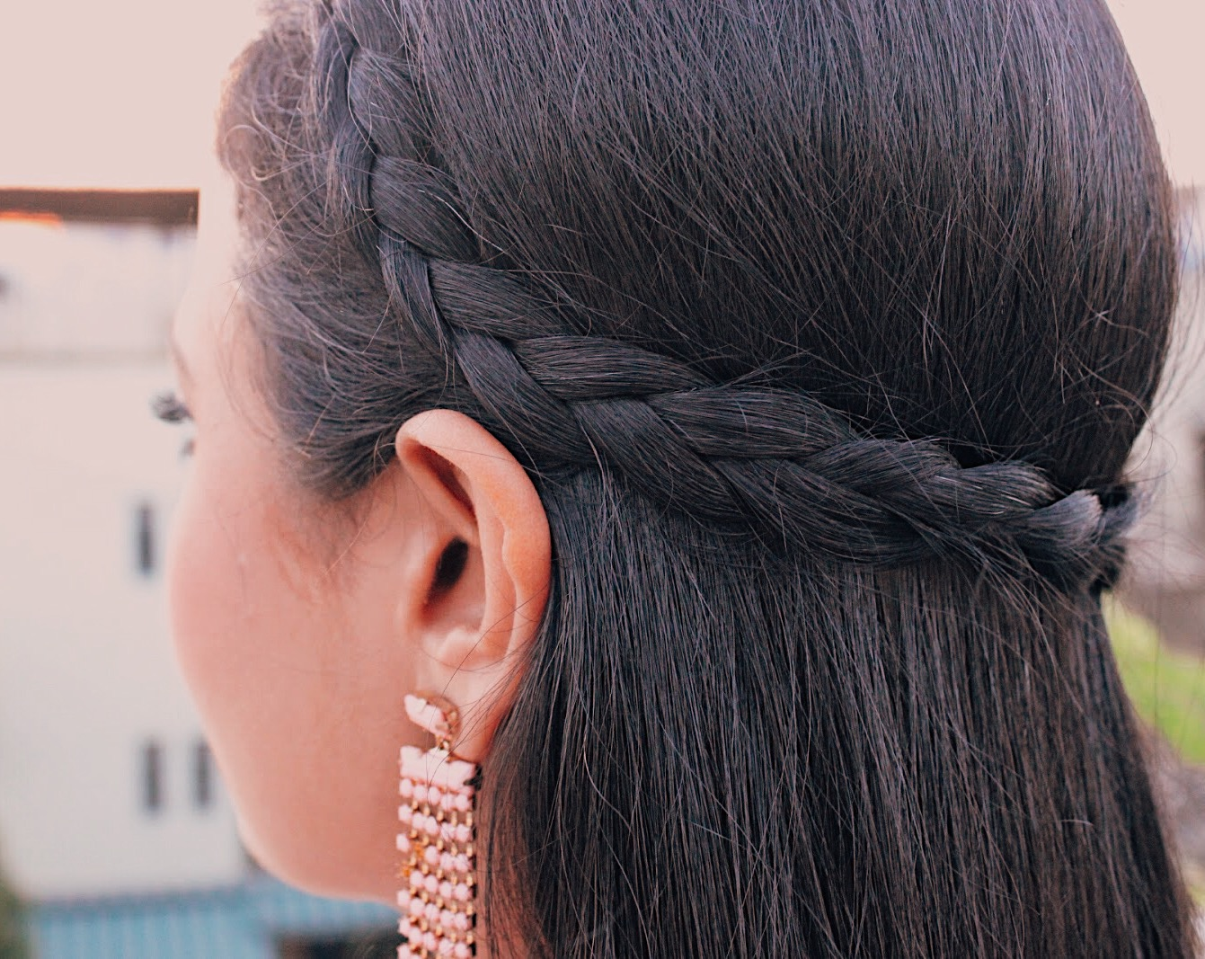 dutch braid, peach and brown, colours with nude, lace zara dress, indian blogger, indian fashion blogger, british blog, indian lifestyle blog, uk blogger, summer outfit, chic outfit, block heels, how to wear nude dress