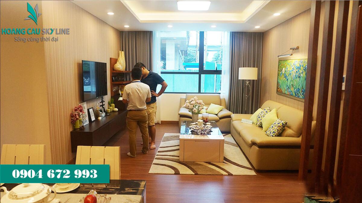 Phòng khách dự án chung cư Hoàng Cầu Skyline