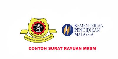 Contoh Surat Permohonan Rayuan MRSM