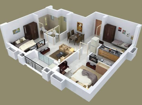 contoh gambar denah rumah 3d 4
