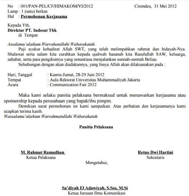 Contoh Surat Permohonan Kerjasama dengan sekolah