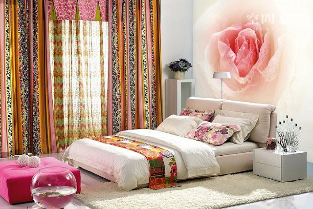 tapet blommig fototapet rosa ros sovrumstapet