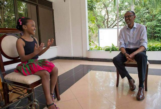 Perezida Kagame yakiriye Wendy Waeni, Umwana w'Umunyakenyakazi ufite impano idasanzwe mu mikino ngororamubiri.