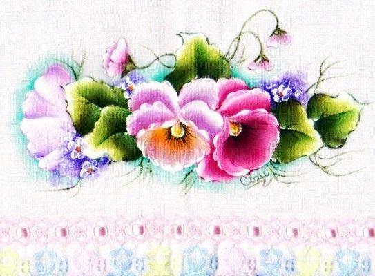 pintura em tecido flores pano de prato amor perfeito