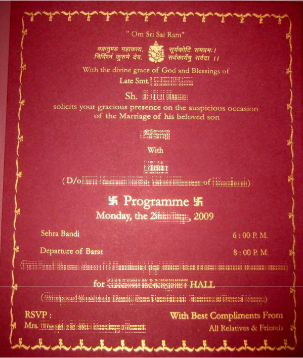 indian wedding card wordings in text format january 2013