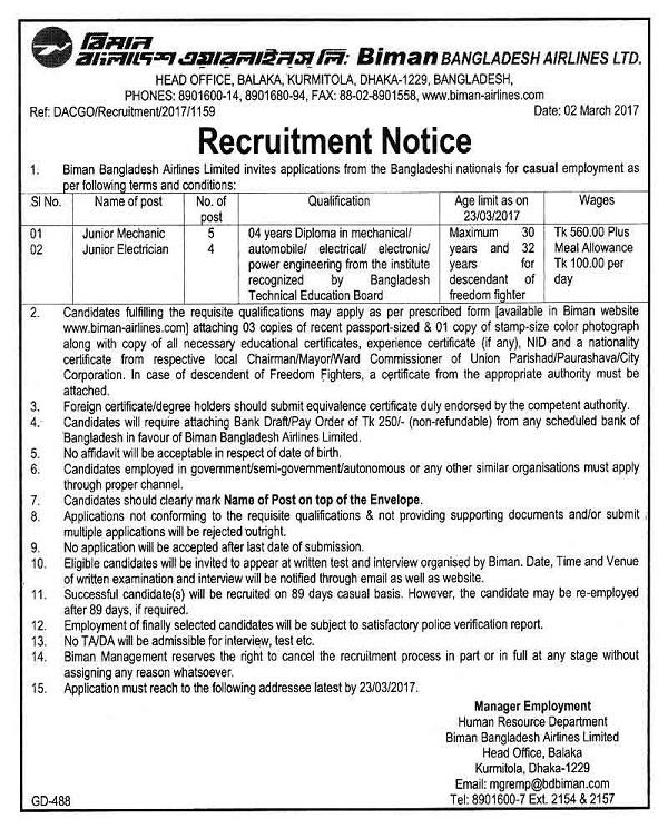 Biman Bangladesh Airlines Ltd - the recruitment circular.