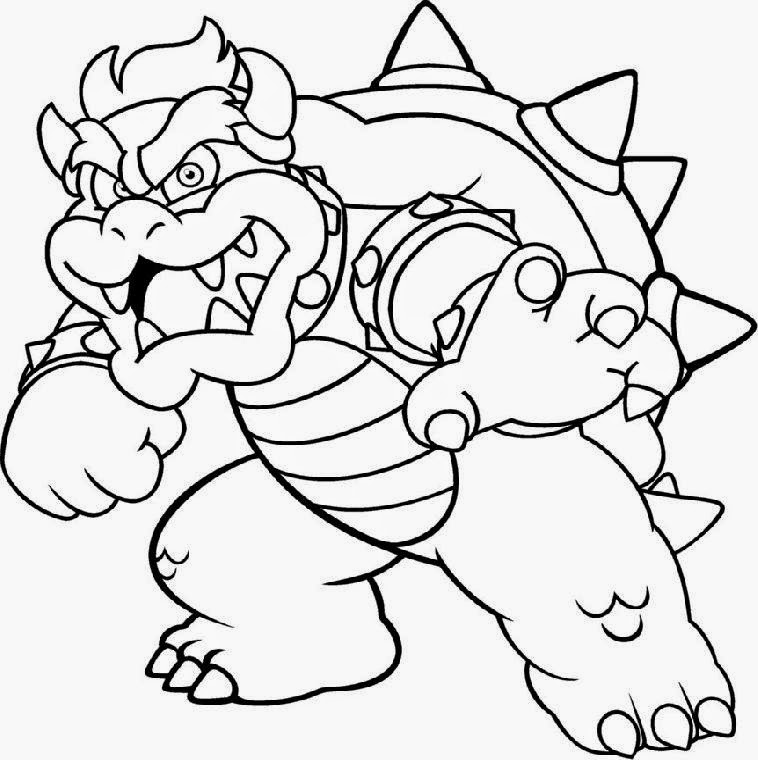 mario bros bowser coloring pages colorings net