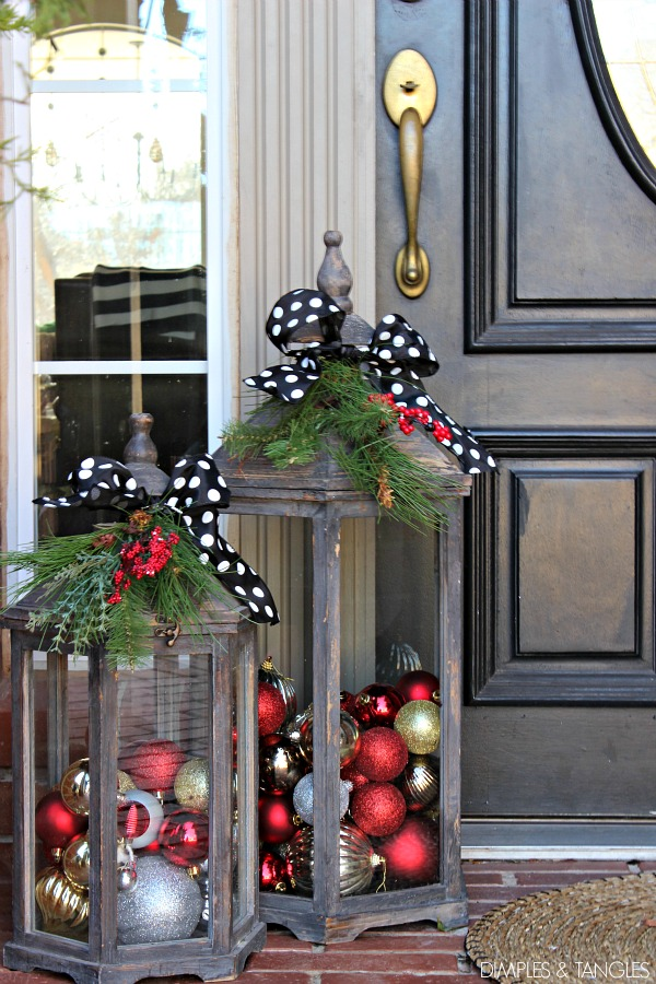 lanterns, Christmas decorations, Christmas porch decor, front porch decorations