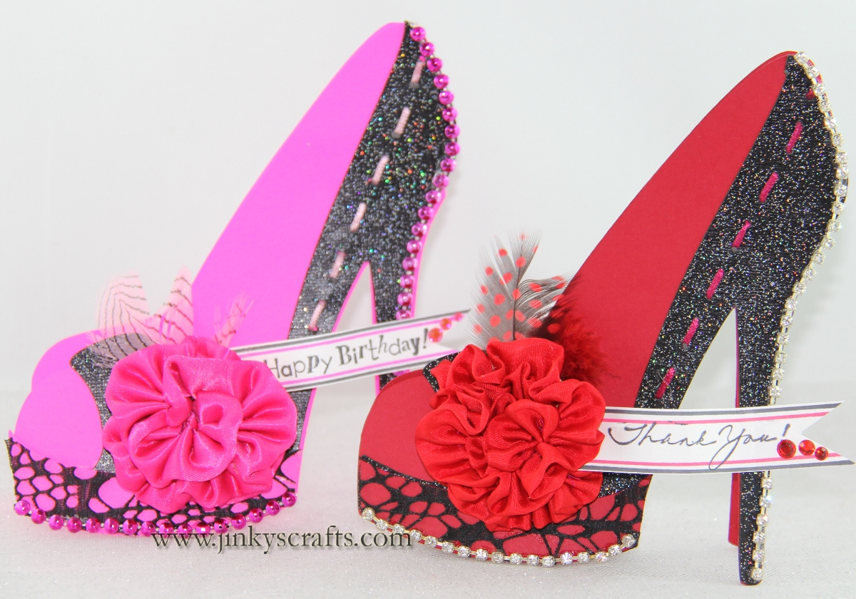 Jinky 39 s crafts designs high heel shoe 3d cards for High heel shoe template craft