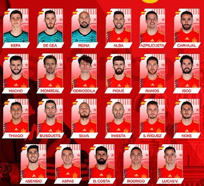 Spain list of 23 World Cup Russia 2018