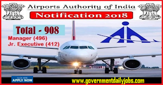 AAI Recruitment 2018 Online form of 908 Manager & Jr Executive Posts