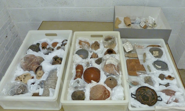 three trays of archaeological pottery