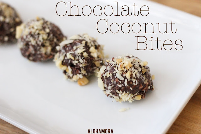 Chocolate Coconut Bites rolled in almonds or macadamia nuts. No bake. Delicious. Vegan. Healthy treat. Easy to make.  So Yummy! Recipe. Gluten Free. Dairy Free. Egg Free. Alohamora Open a Book alohamoraopenabook www.alohamoraopenabook.blogspot.com