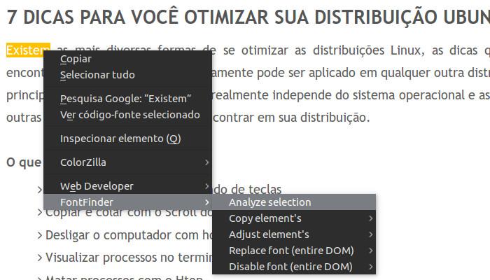 saber o estilo de fonte utilizando o font finder no firefox