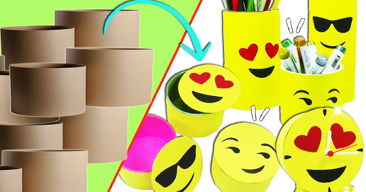 Ecobrisa Manualidades: Ideas emojis con tubos de cartón