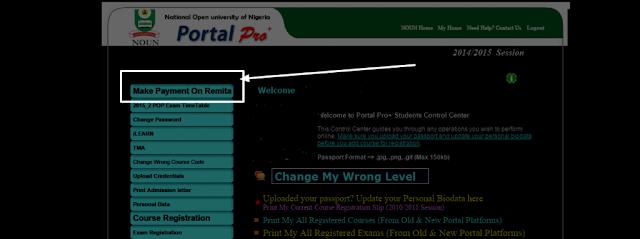 Make Payment on Remita via NOUN Portal