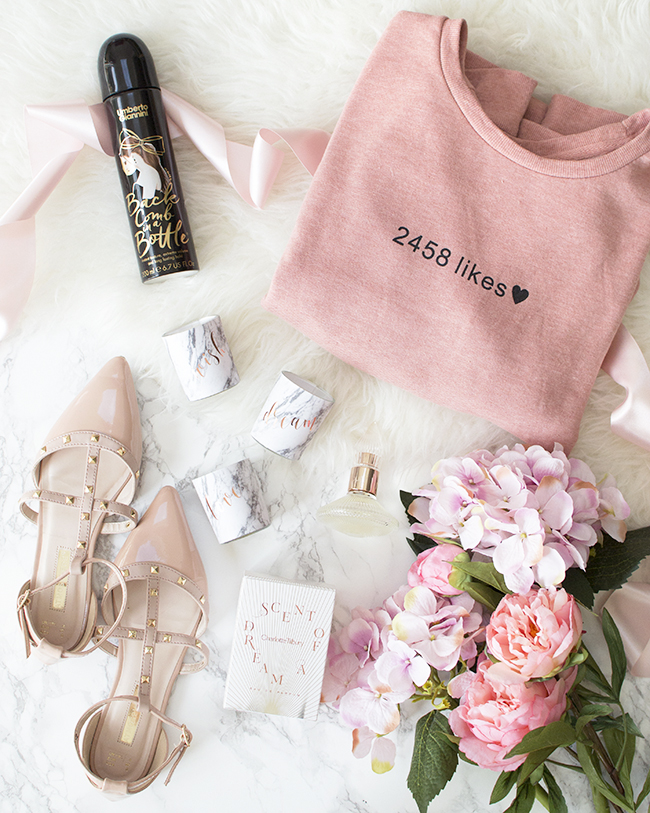 Primark Jumper & Studded Ballerina Shoes, Charlotte Tilbury Scent of a Dream Perfume, Marble Candles