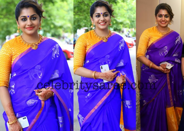 Meera Nandan Purple Silk Saree