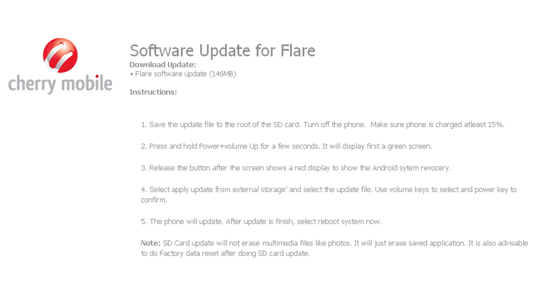 Cherry Mobile releases 146MB FLARE software update via official