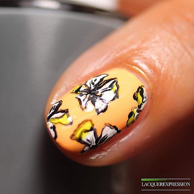 free handed white floral spring nail art manicure