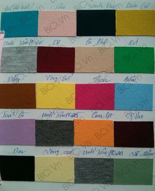 Bảng màu vải cotton 65/35