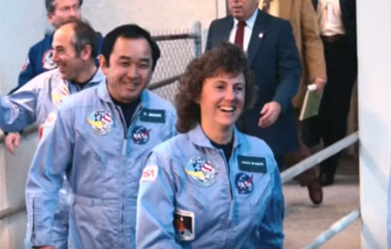CHRISTA MCAULIFFE: When Christa McAuliffe walked with the other crew to the Challenger plane on 26 January 1986. Picture from YoutubCHRISTA