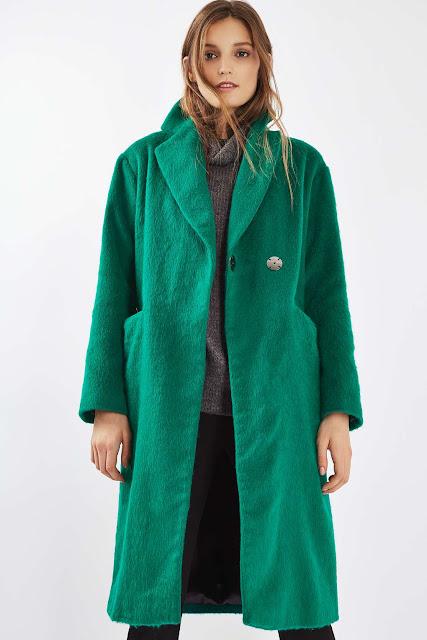 topshop green coat, green hairy coat, green long wool coat,