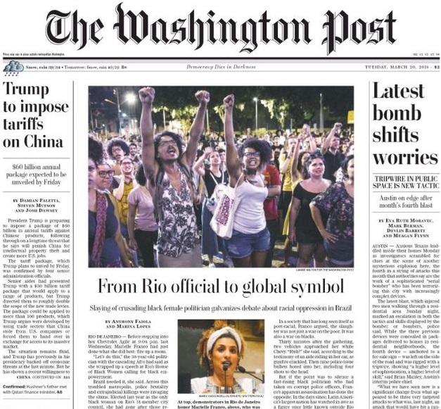 Marielle Franco estampa capa do 'Washington Post' (Opinião e Notícia)