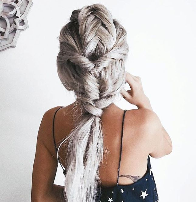 INTRICATE SILVER FISHTAIL INTO LOW PONYTAIL