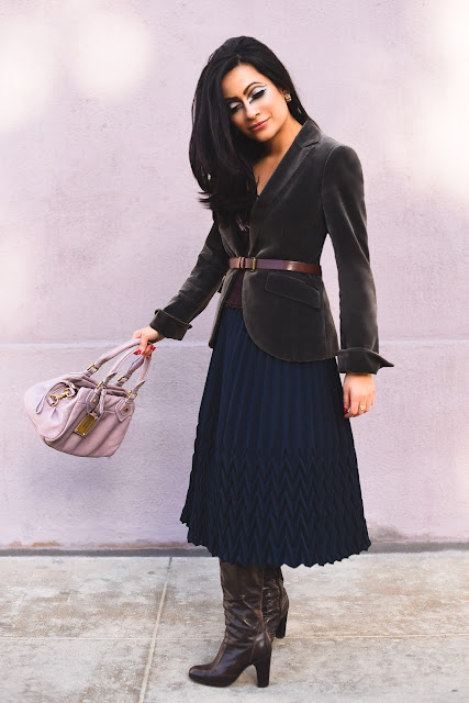 sixties makeup Kumikyoku gray velvet blazer gold vintage earrings Marc Jacobs lavender handbag, brown leather boots brown leather belt navy blue accordion midi skirt velvet brown floral tank
