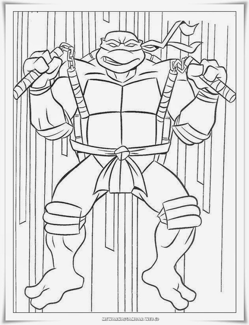 mewarnai gambar Raphael kura kura ninja