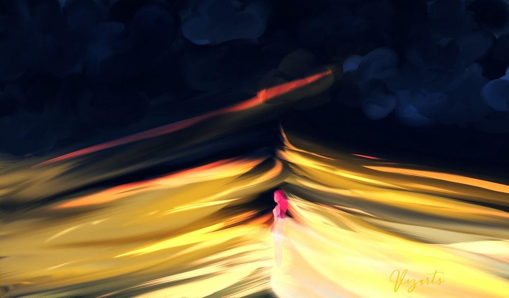 Digital painting, phoenix girl, fire girl painting, pink alien girl comic, web comic paint, paintstorm studion vs photoshop,