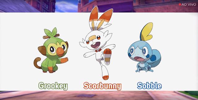 foi divulgado a oitava geração de Pokémon, confira os três iniciais que foram apresentados