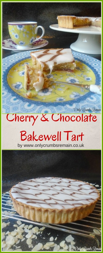 The Bakewell Tart is a classic British tea-time treat.  This one sees morello cherry jam beneath the frangipane base and has a chocolate feather patter through the icing to decorate.