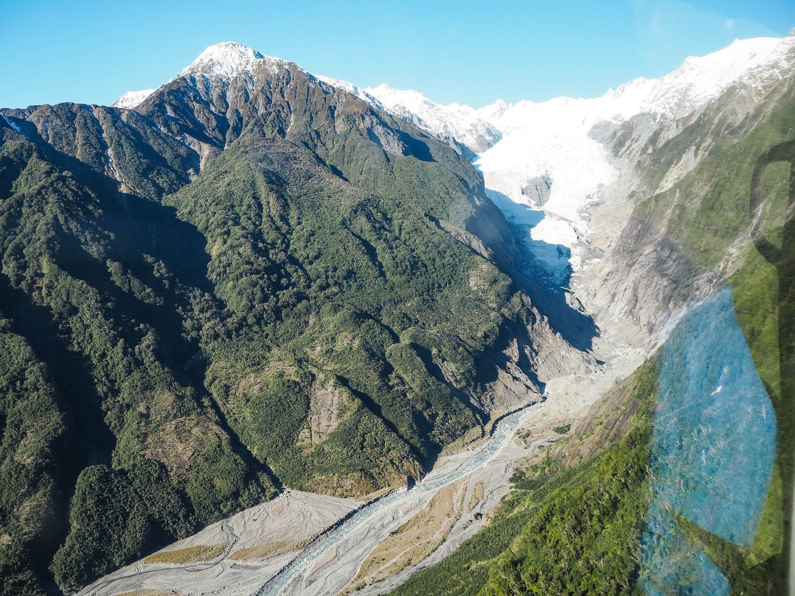 Franz Josef glacier from the air
