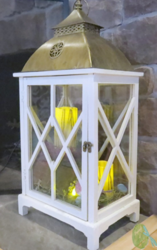 White Lantern After in Gold and White with soft gold flickering candle