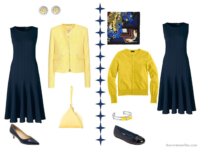 2 ways to wear a navy dress with yellow accessories