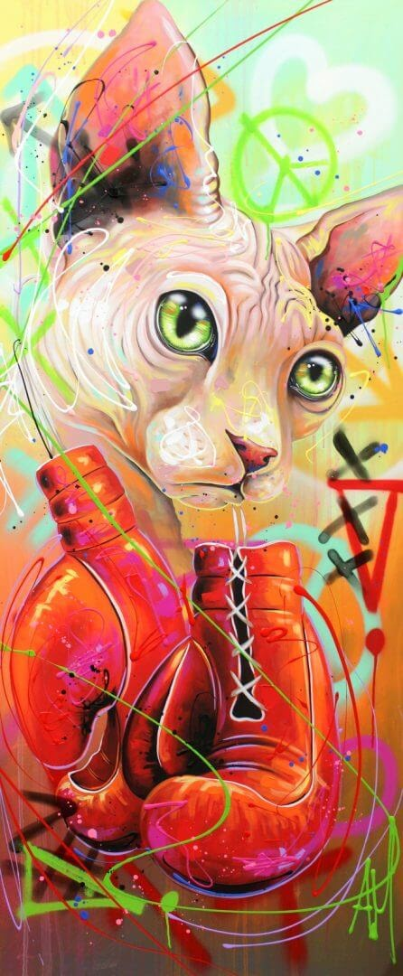 12-Sphynx-Cat-Andrea-Marqui-Bright-Paintings-of-Animal-Portraits-www-designstack-co