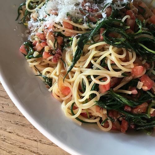 Pasta mit Mönchsbart, Speck & Tomate ~ Pasta con Agretti, Speck &Pomodori