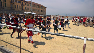 Earlier in the day of the palio the Borgo San Bernardo musicians practice at Castello dei Principi d'Acaja.