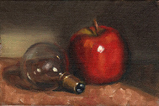 Oil painting of a red apple beside a small incandescent light bulb.