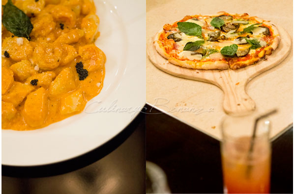 Left: Potato & Ricotta Gnocchi IDR 180,000 | Right: Mascarpone Pizza IDR 180,000