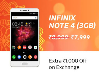 Infinix Note 4 (3GB) @ ₹7,999/- + 10% Instant Discount with HDFC Bank Debit & Credit Cards