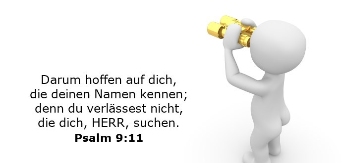 Darum hoffen auf dich, die deinen Namen kennen; denn du verlässest nicht, die dich, HERR, suchen.