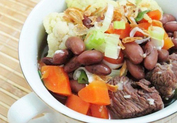 Gambar masakan sup daging sapi isi kacang spesial