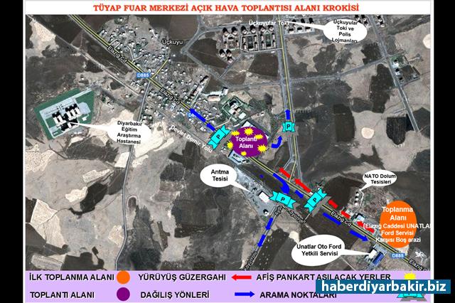 DİYARBAKIR-Diyarbakır Valiliği, 2017 yılında yapılacak toplantı, gösteri ve yürüyüşlerin alan ve güzergâhları açıkladı. Açıklamada, İstasyon Meydanı, Nevruz Alanı ve TÜYAP Fuar Merkezi olmak üzere 3 alan hakkında detaylara yer verildi.
