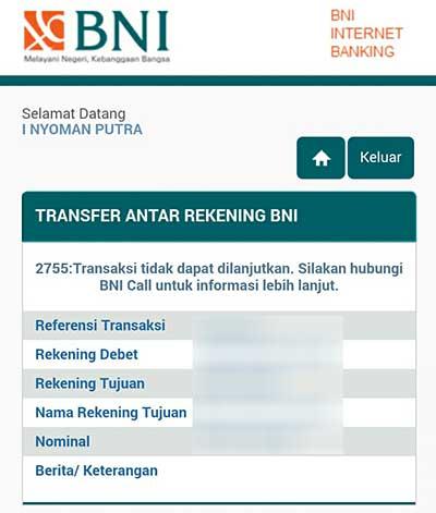 Kode Kesalahan 2755 Gagal Saat Transfer BNI Internet Banking