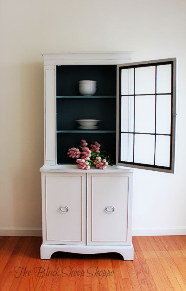 China hutch painted in Gesso White and Provence Blue.
