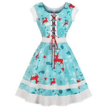 Round Collar Draw String Lace Up Christmas Dress