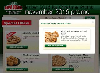 Papa Joes Pizza coupons december